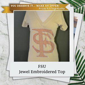 FSU S Jewel Embroidered V-Neck Shirt